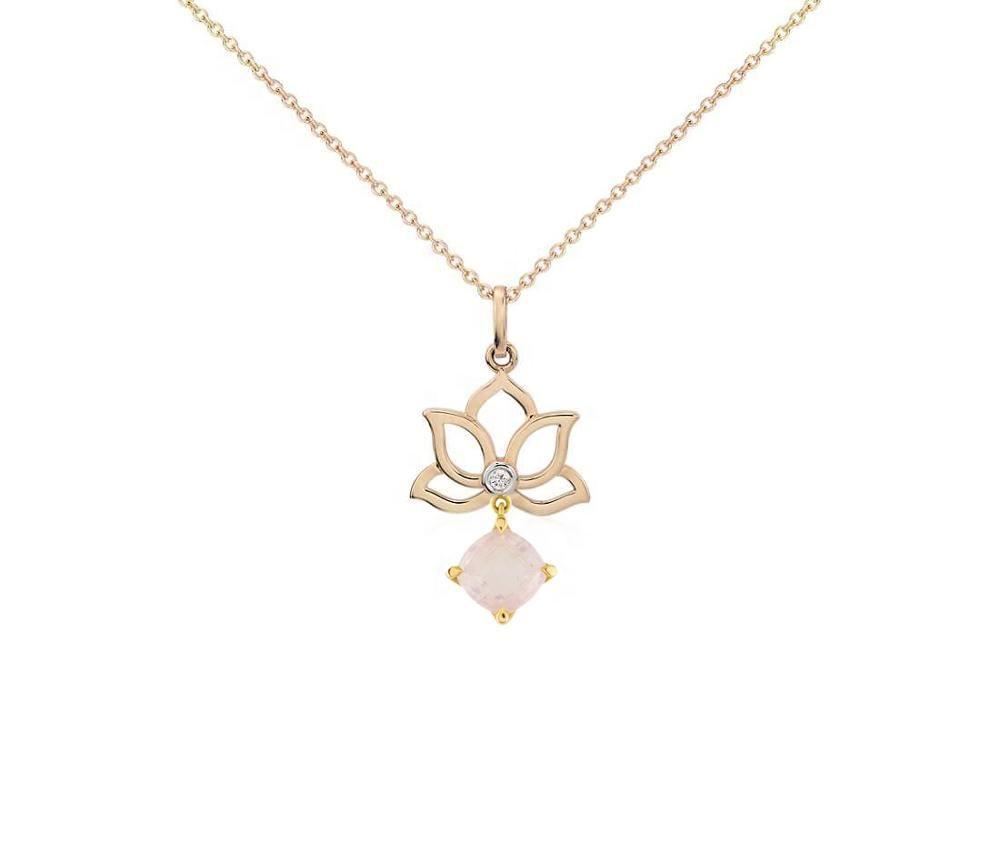 Lotus with pearl solid 14k customized gold jewelry