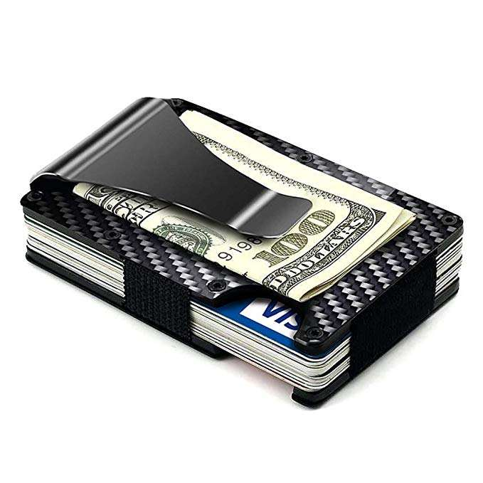 Slim Credit Card Holder RFID Blocking Metal Money Clip Purse Wallet