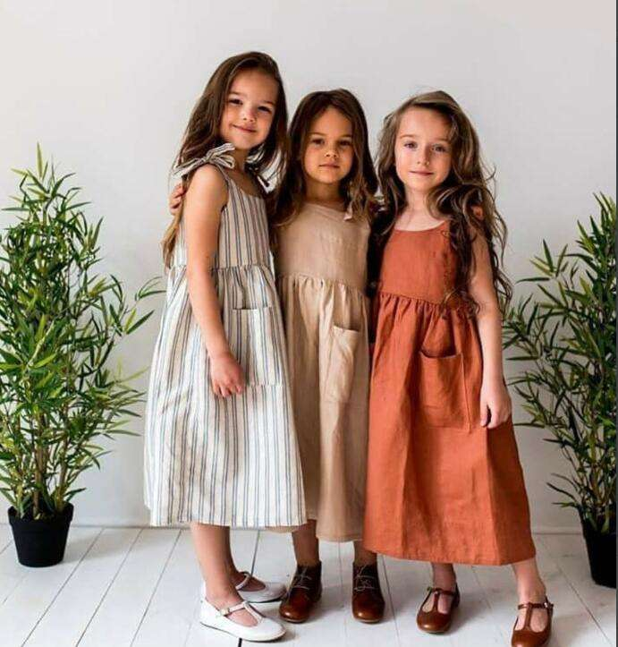 Girls Dresses 2019 Ins European&America Girl Dress Linen Toddler Kids Summer Clothings Casual Fashion Baby Girl Clothes