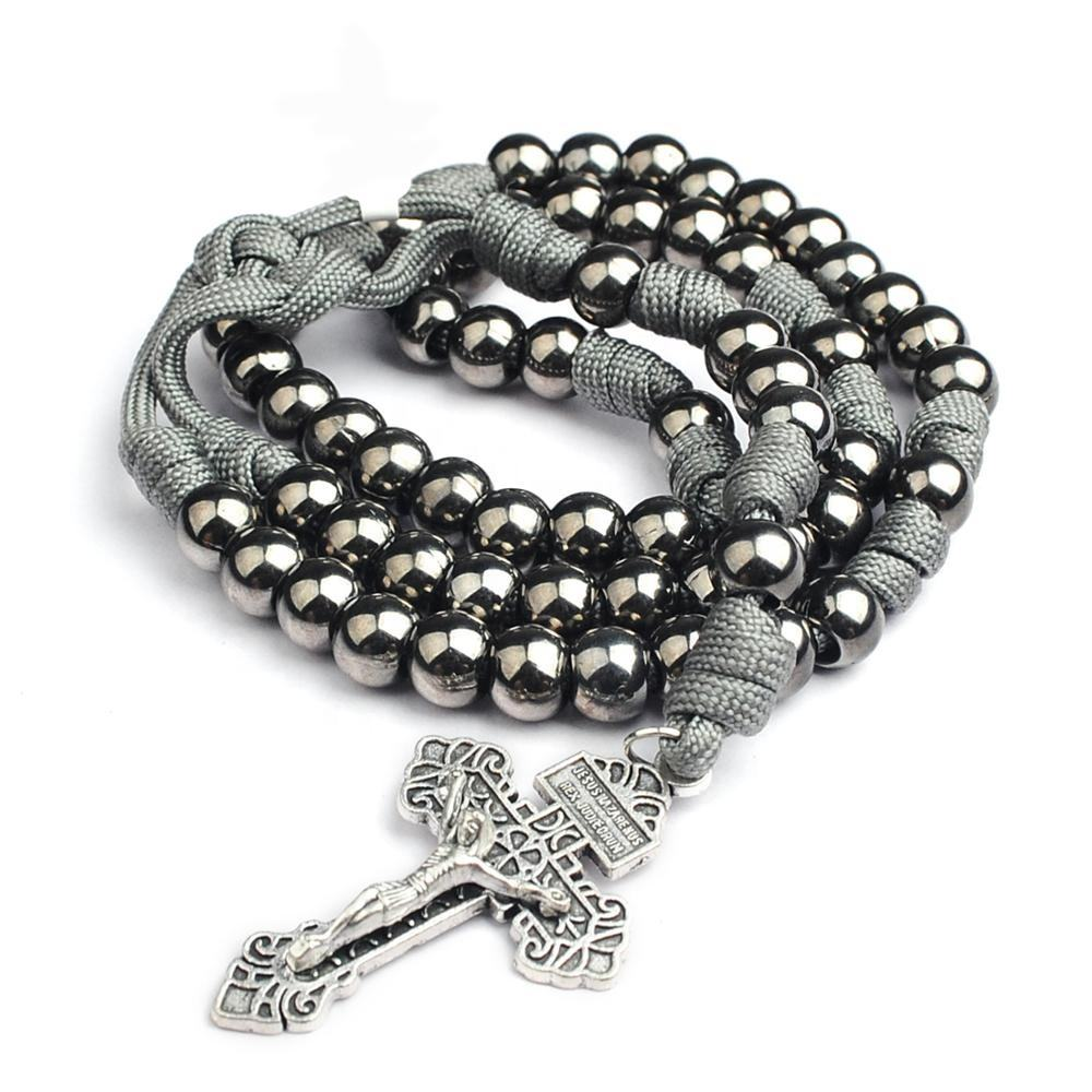 10mm Gun Black Plated Beads with Gray Color Paracord Rosary Necklace for Men
