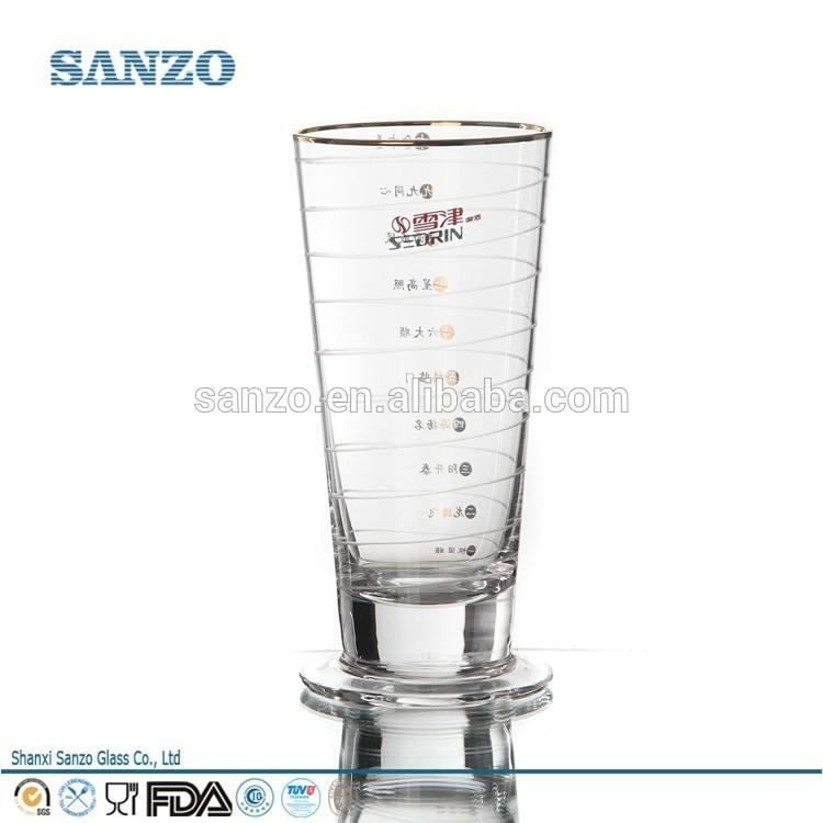 Sanzo personnalisée. fabricant de verrerie dans un ensemble par le lac tennis, chope de bière en verre