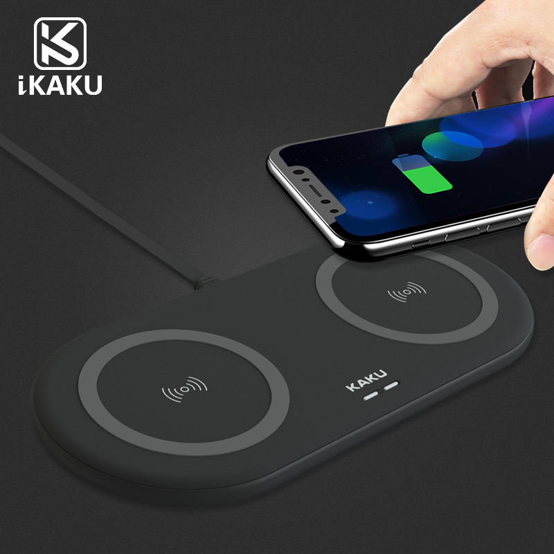 KAKU 2019 new style product silicone twin wireless charging pad for 2 mobile phone at the same time