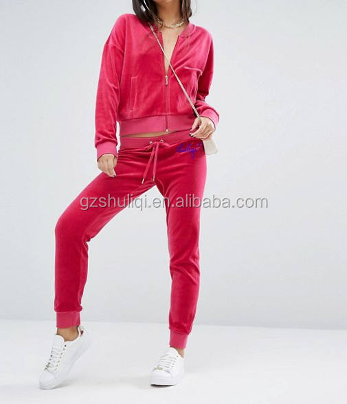competitive price prink velour womens track suit custom warm jogging suits