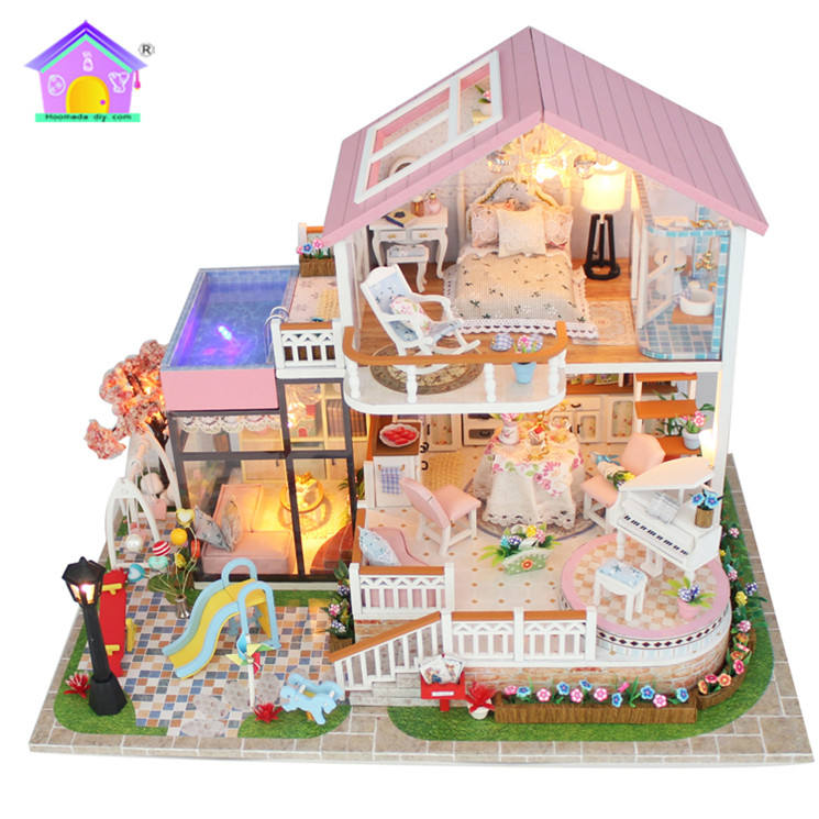 Factory price diy 3d educational puzzle toy wooden model miniature house handmade puzzle