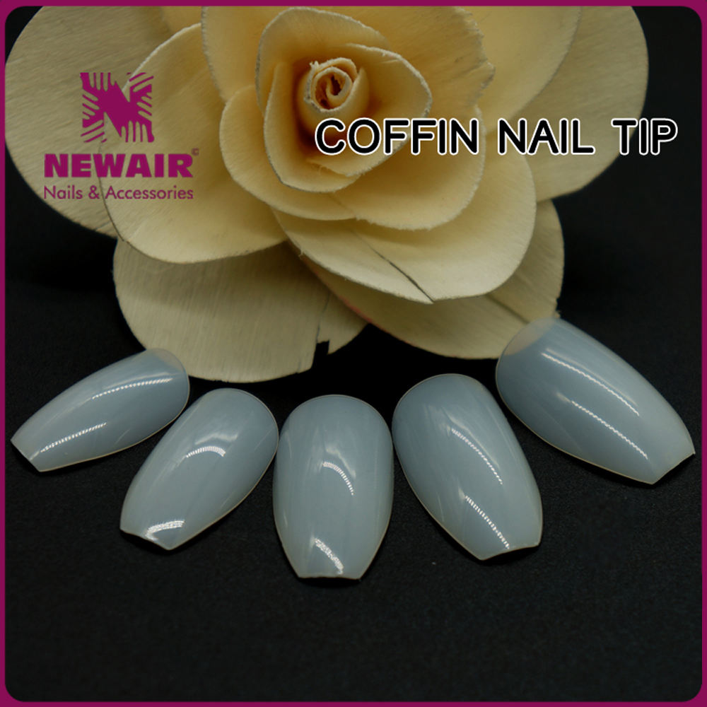 NEWAIR 500PC Professional Plactic Coffin Shape salon Decorative nail Tips with 10 size
