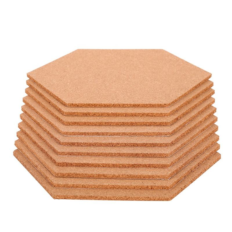 8mm Custom Thickness Bulletin Push Pins Message Cork Sheet Tiles Board with Glue for Memo Hexagon Shape