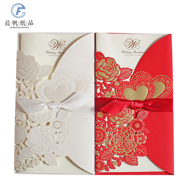 shenzhen customized folding ancy wedding invite red yellow wed invitation rustic country style
