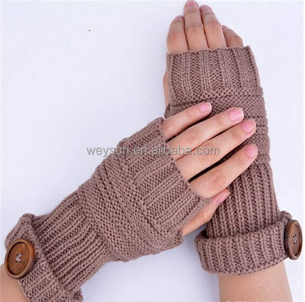 Fashion Unisex Men Women Knitted Fingerless Winter Gloves