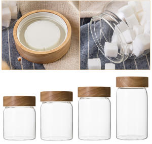 나무 Screw Lid (gorilla Glass) Jar 나무 Lid Canister 와 나무 Lid