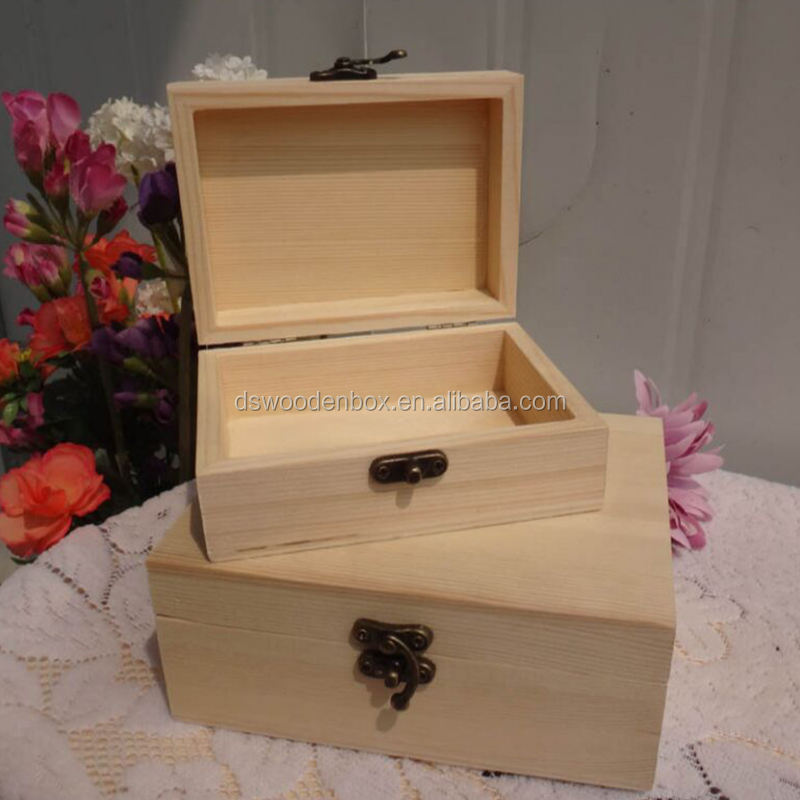 Small Unfinished Pine Wood Trunk Box With Hinged Cover