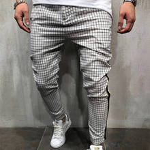 High quality mens clothing casual trousers track pants men plaid pants
