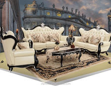 Italian Leather Sofa With Wood Trim Rococo Luxury Living Room Furniture