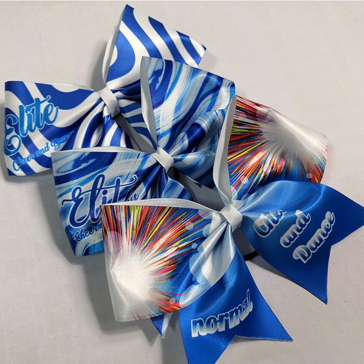 School sports meeting Cheer bows pony fashionable girls one piece custom ribbon fabric dance hair cheer bows