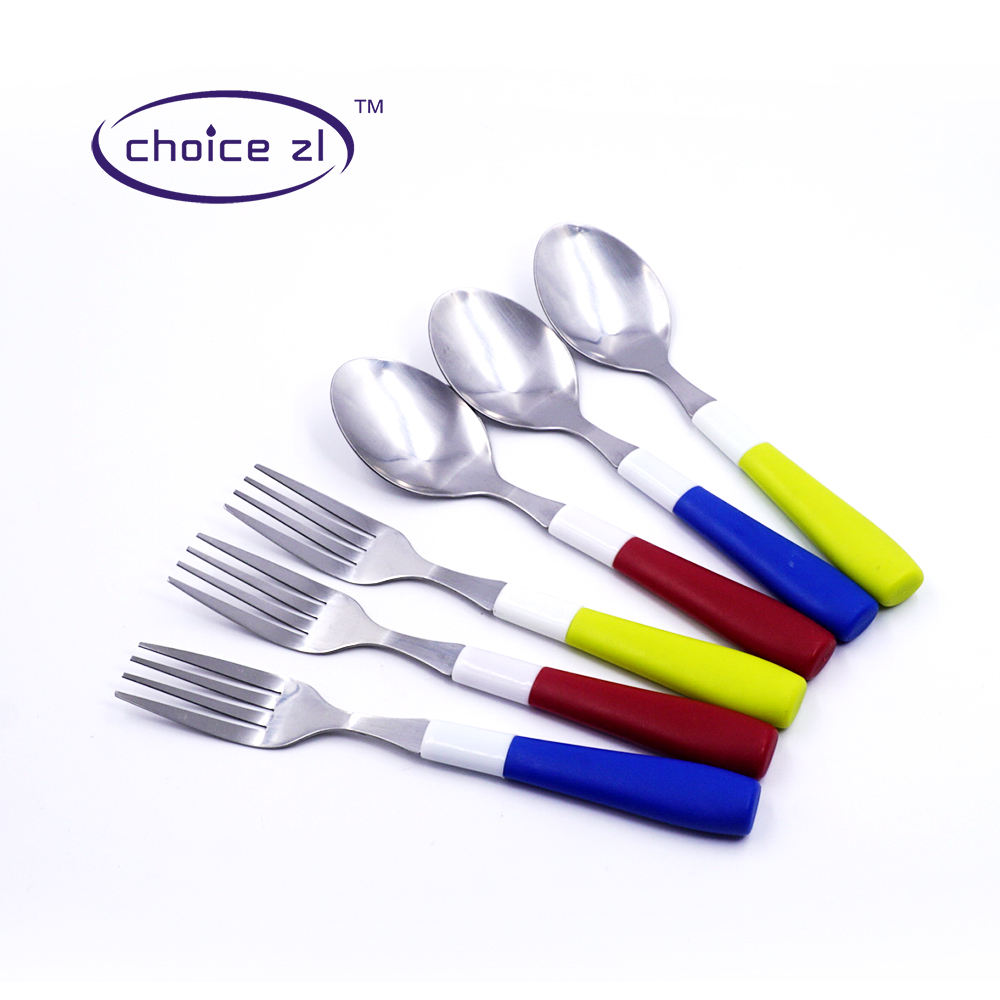 Home use cutlery set 6PC economy tableware flatware set forks and spoons with colorful plastic handle