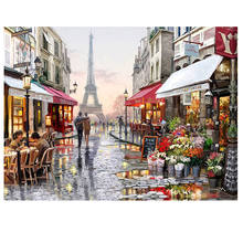 Paris street scenes artwork painting decor for hotels