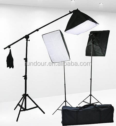 Professional Photography Light Kit Photo Studio Set 135W Daylight Bulb Light Stand Square Cube Softbox Cantilever Bag