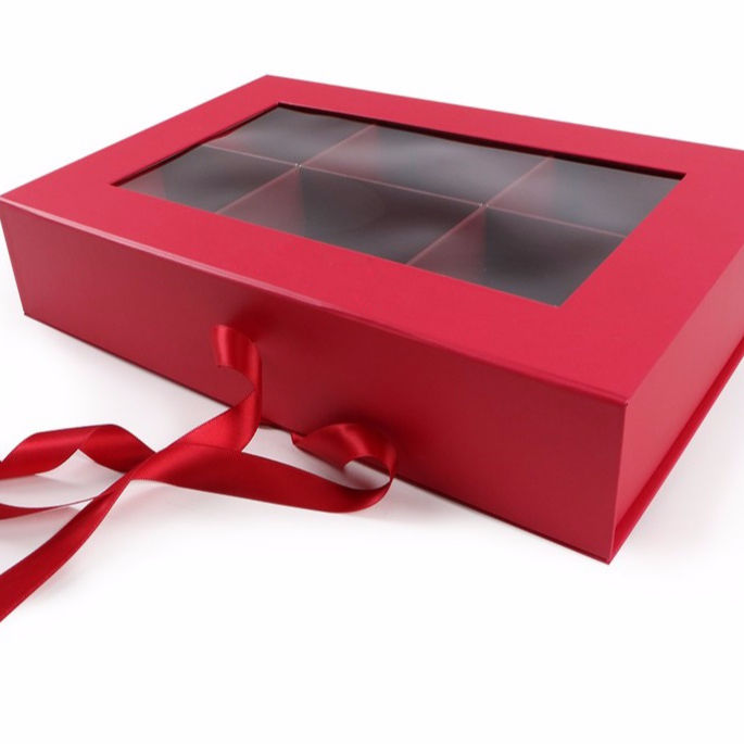 Custom Clear Window red Cosmetic sock Box With Paper Insert Ribbon Closure