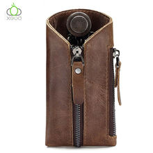 China Supplier Real Leather Key Case Multifunction Key Organizer Can Put The Change And Key.