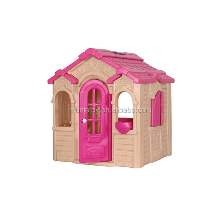 Outdoor Playground Equipment Role Play Pink Princess House Kid Playhouse Toy with Furniture