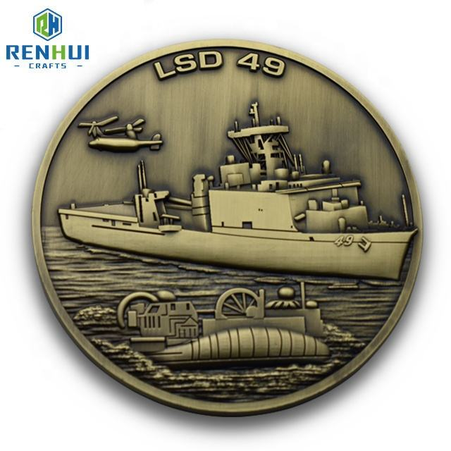아연 합금 metal custom antique 금 기념품 USS HARPERS FERRY coin