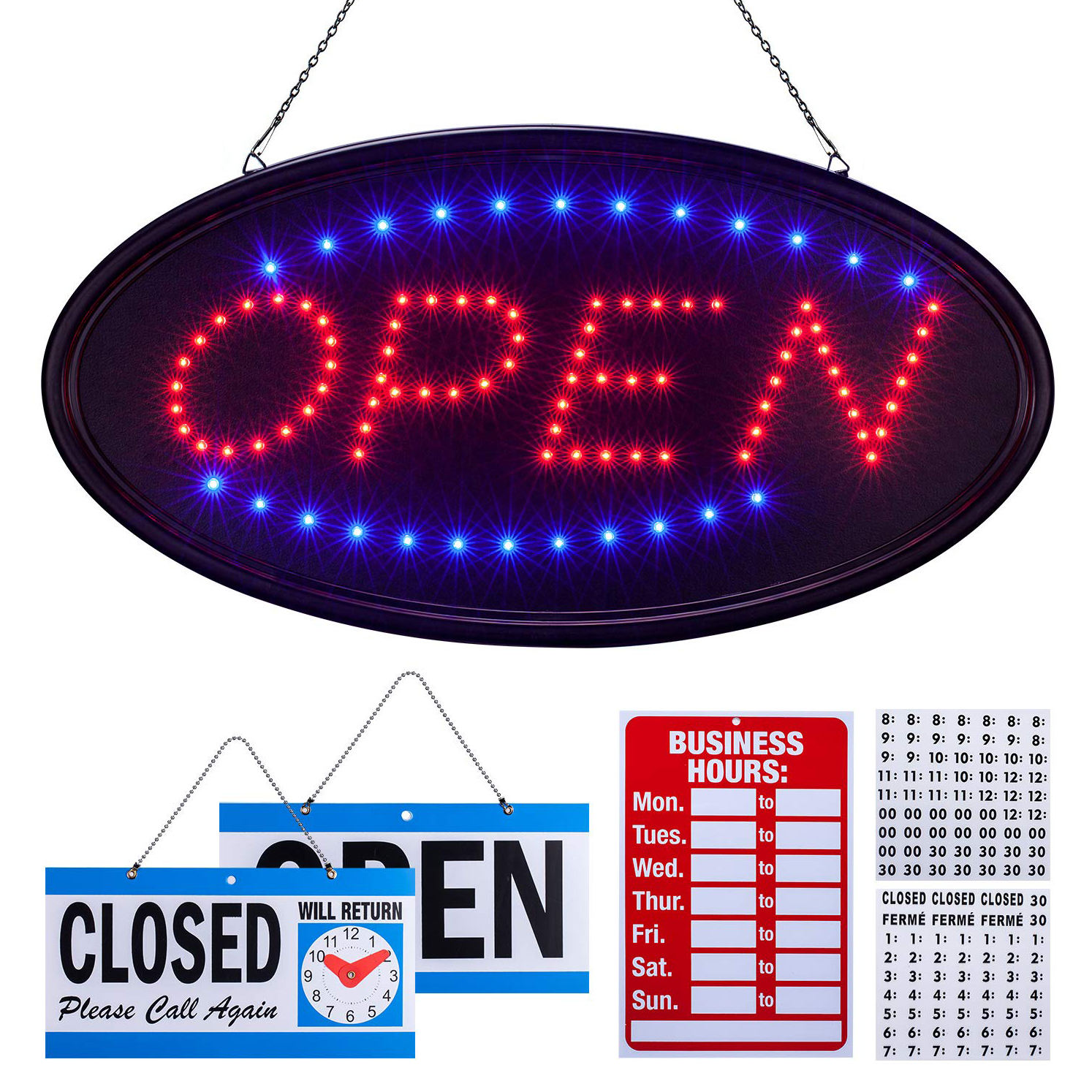 Nailtalk Pabrik 48X25 Cm Outdoor Gantung Logo Kustom Iklan NEON SIGN Open LED