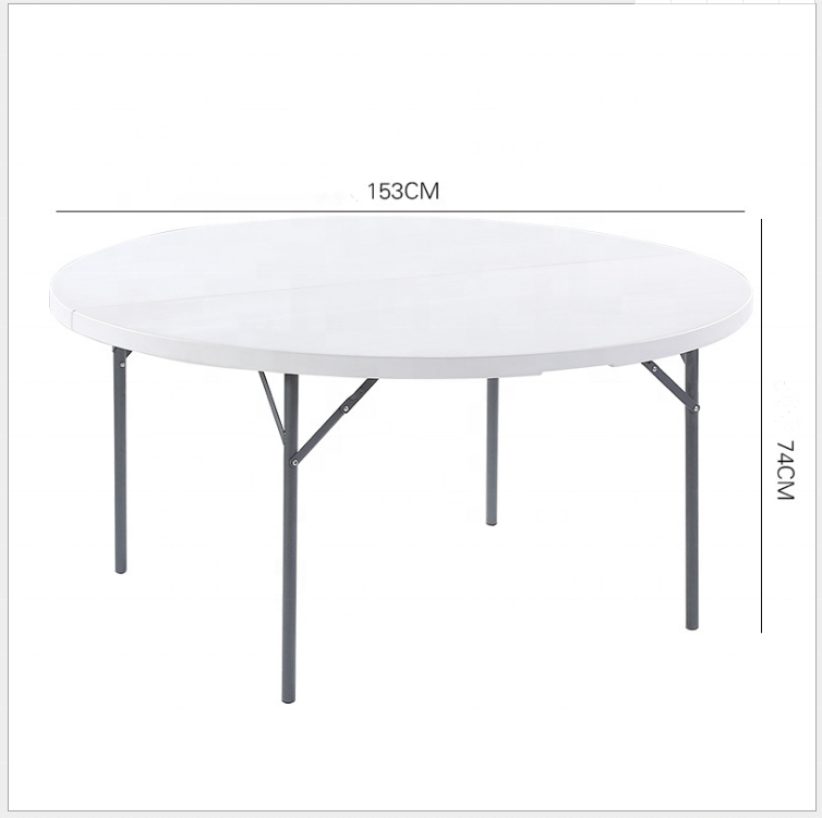 Cheap price 10 seats HDPE Round white Plastic Wedding folding table