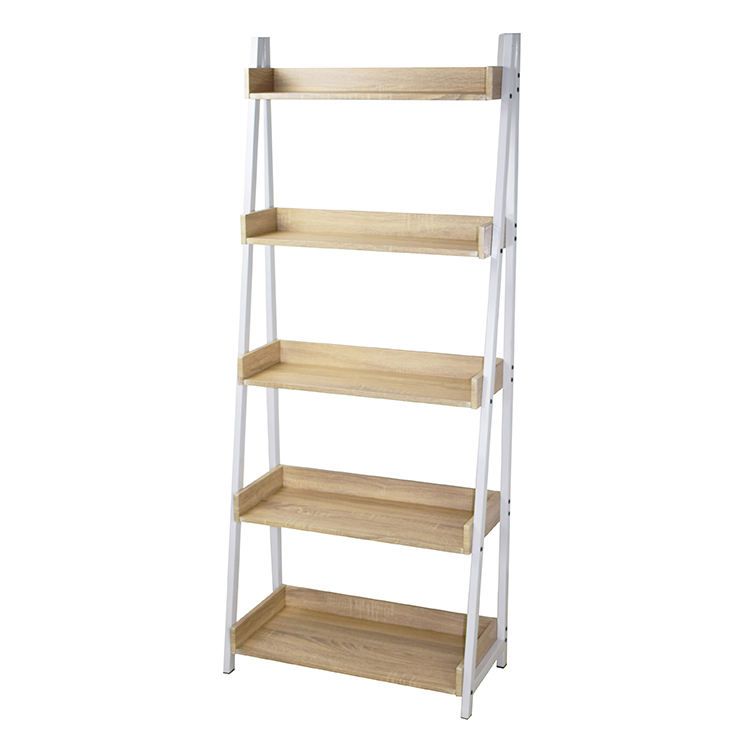 Modern 5 Tier Ladder Open Shelves Storage Rack shelf Wood Look bookshelf Accent Furniture for Living Room Display Bookcase