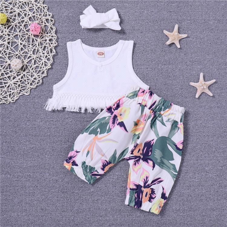 Infant clothes toddler children summer baby girls clothing sets casual 2pcs flower clothes sets girls summer set