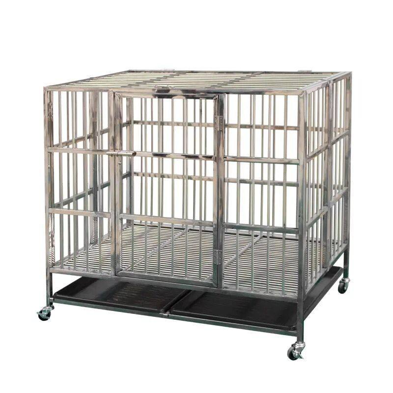 XL size single door128*89*106 cm Folding stainless steel dog cage