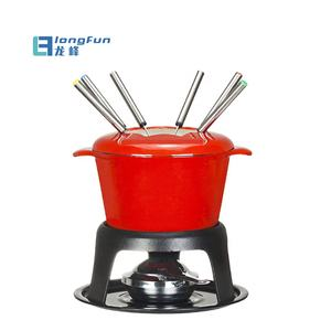 Emaille mini gietijzeren fondue pot set