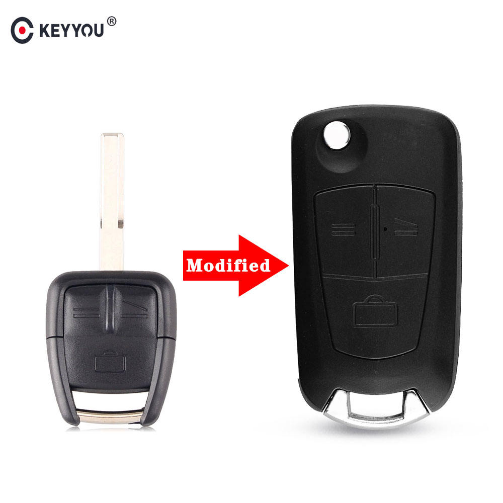 KEYYOU Modified Flip Folding Remote Key Case 3 Button Blank For Vauxhall Opel Astra Vectra Zafira HU100 blade