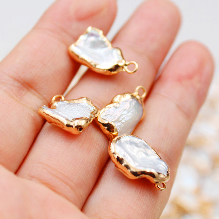 Flat Gold Plated Pearl Bead Loose White Freshwater Pearl Beads for Jewelry Making