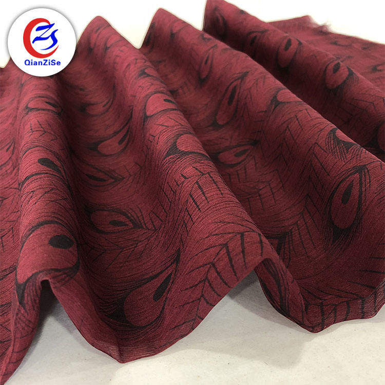 keqiao stocklot peacock design printing pleated fabric for fashion dresses