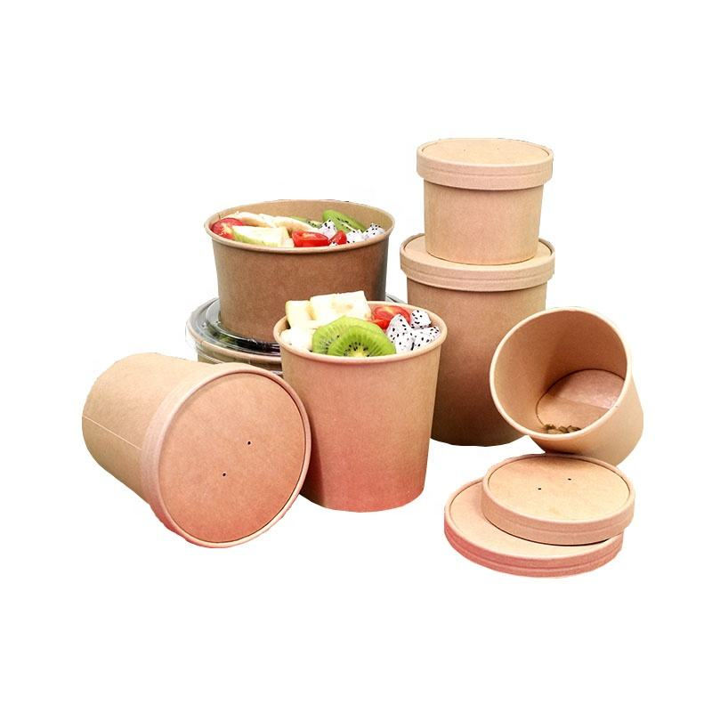 Wholesale customized 26oz 750ml paper food bowl kraft paper take away food container