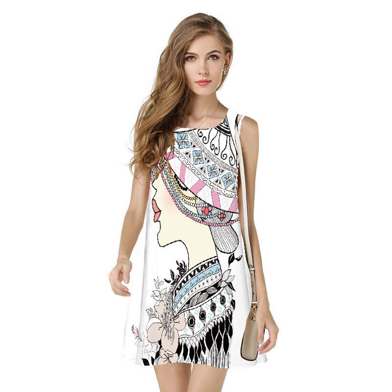 P76 China Wholesale 2018 Europe sublimation printing women sleeveless dresses