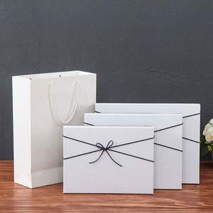Rigid Luxury White Cardboard Lid and Base Box Silk Bow Tie Gift Packaging Scarf Box with Paper Bag