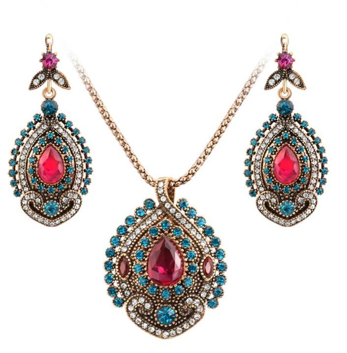 Eco-삶 인공 Vintage Style 감사해 요 Tribal Drop 결정 Bridal Jewellry Necklace Earings Set