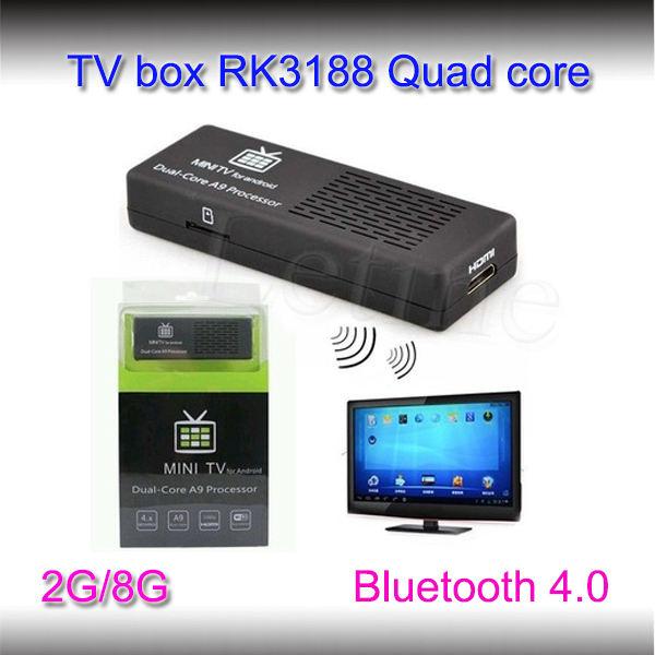 Hottest wireless usb stick tv receptor de satélite 2g/8g rk3188 quad core android smart tv stick