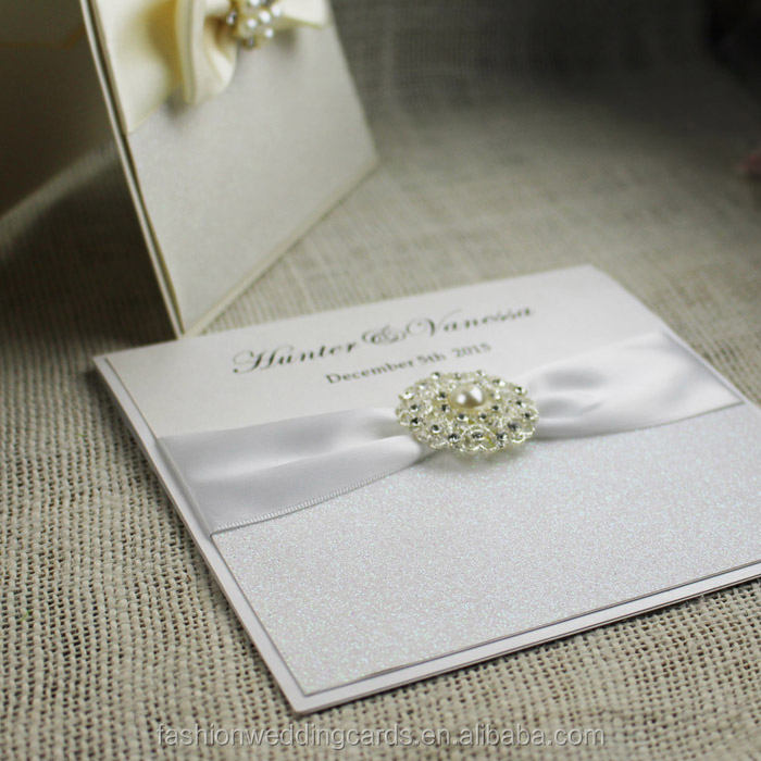 Classic Luxury White European Wedding Invitation Cards