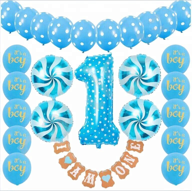 1 Year Old Birthday I am One Banner Blue Balloon Digital 1 Foil Balloons 1st Birthday Decorations Boy Kit