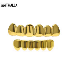 Best Hiphop Jewelry Gold Plated Teeth Grillz Set Plain Teeth Top Bottom Slugs High Quality Grillz Set with Molding Bar