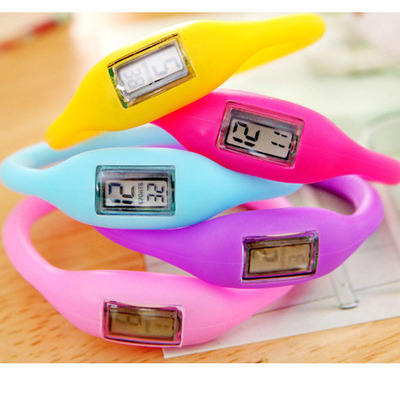 Silicone Sport Negative Ions Waterproof Candy Color Watch Bracelet