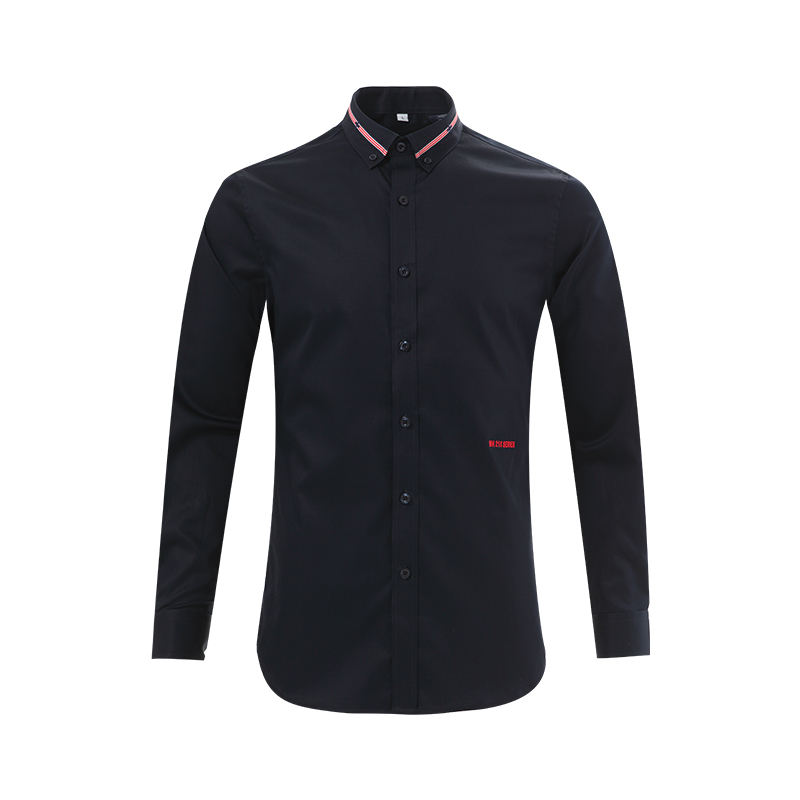 DARK NAVY SLIM FIT ECO FRIENDLY COTTON SMALL DECORATIONS COLLAR MAN SHIRTS 2021