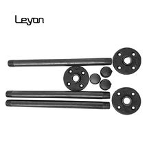 painting black steel pipes threaded part at both ends 1/2*14 inch nipple female cap 1/2 inch 4 hole NPT thread floor flange