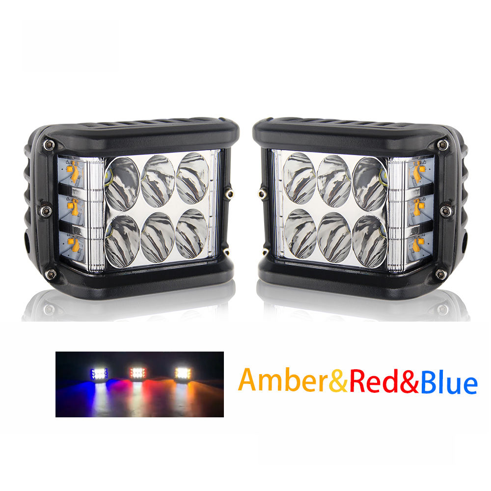 Mini Flashing ATV Truck Motorcycle 45W Fog Headlight Pod Red Blue 12V Amber Dual Color Side Shooter Strobe 3 Inch Led Work Light