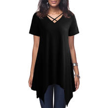 Sexy Women Asymmetric T-Shirt Cross V Neck Short Sleeve Blouse Solid Loose Casual Tunic Top Black/Grey/Army Green