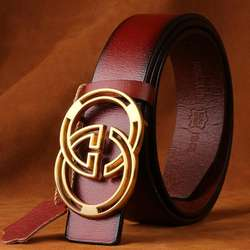 Factory made genuine leather belts for man with Letter buckle