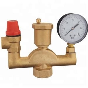 Brass Boiler Safety Group Set Complete with automatic shut-off valve pressure relief valve 3 bar