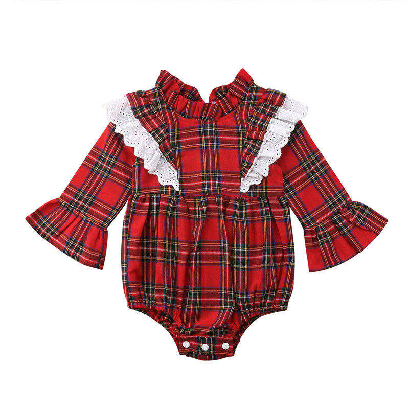 2018 Christmas Kids Baby Girls Party Plaid Dress romper Outfits Set Clothes