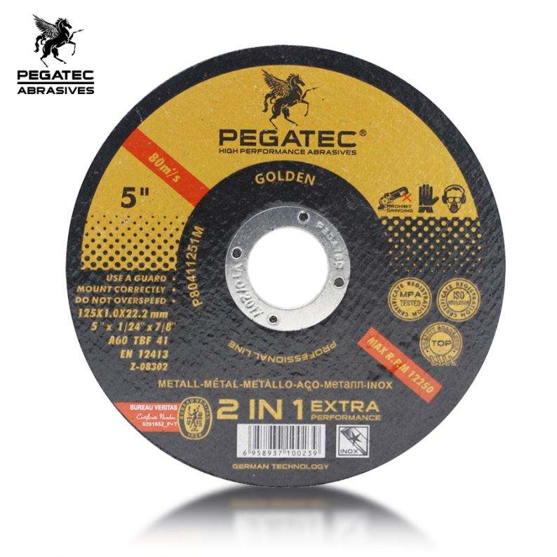 125X1.0X22.2mm PEGATEC super thin cut off disc for metal 2IN1